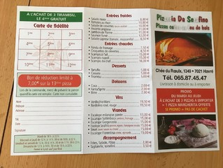 Pizzeria Da Serafino - Carte
